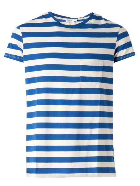S S T Shirt With Stripe laurent striped tshirt in blue for lyst