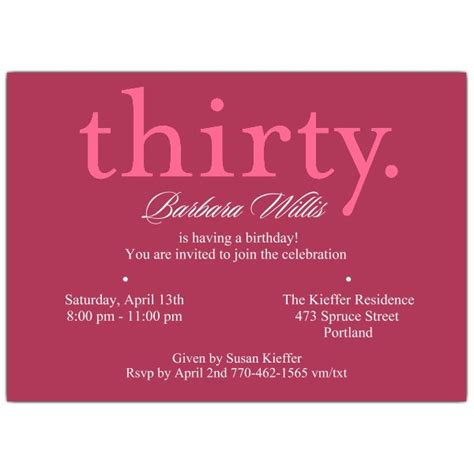 invitations for 30th birthday a pink 30th birthday invitations paperstyle