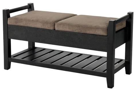 Wood Storage Ottoman Bench Upholstered Rectangular Ottoman Bench With Flip Up Seat