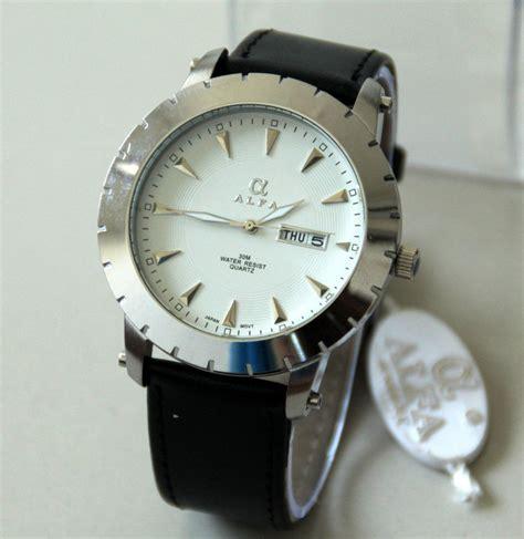Jam Tangan B Berry Kulit White alfa leather jam tangan kulit pria original
