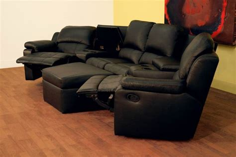 theater sectional seating boden 7 piece black leather theater seating sectional by