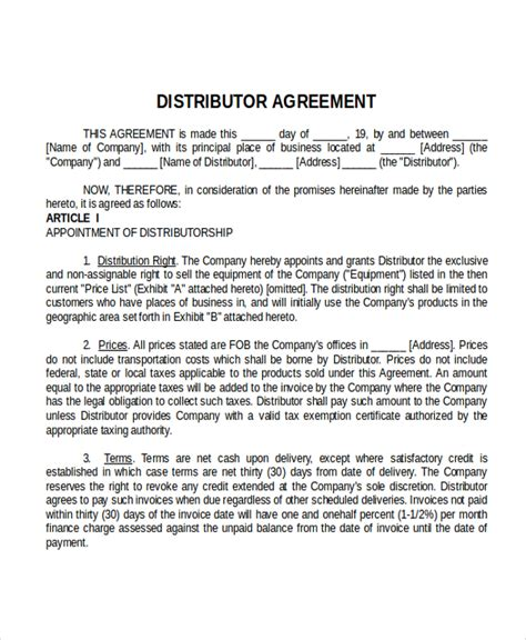 international distribution agreement template 17 agreement templates free sle exle format