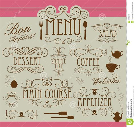 design menu vintage menu vintage ornament stock vector image of filigree