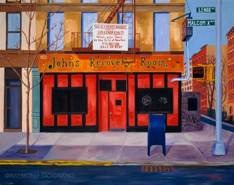 recovery room nyc painting of harlem bar the recovery room on malcolm x boulevard in new york by artist raymond