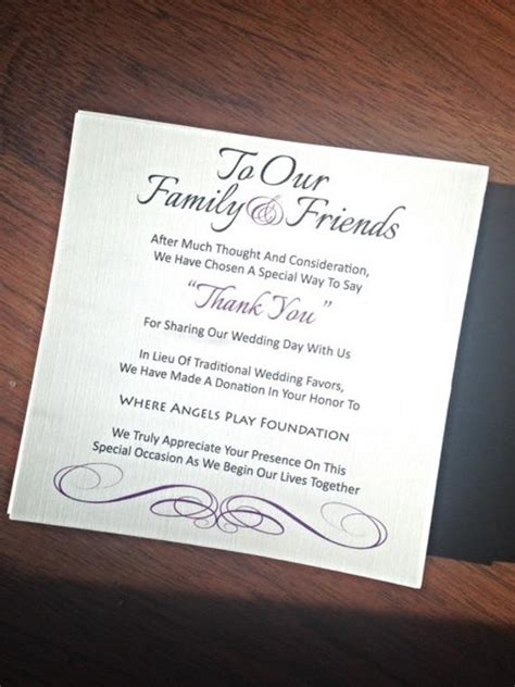 Wedding Favor Donation Card In Lieu Of Favors Wedding Donation Cards Templates