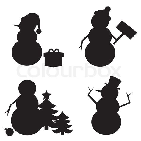 snowman silhouette isolated on white background stock