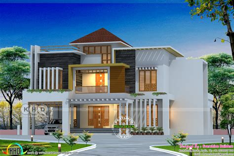 contemporary style kerala home design mixed roof style ultra modern house in kerala kerala
