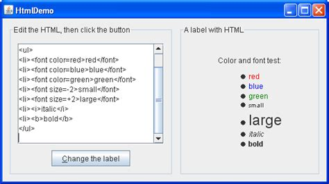 swing components html color code formatting phpsourcecode net