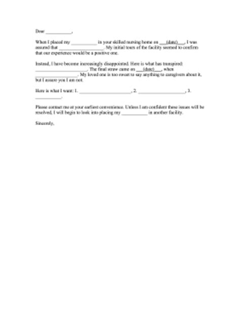 Template Letter Complaint On Health Care Nursing Home Complaint Letter