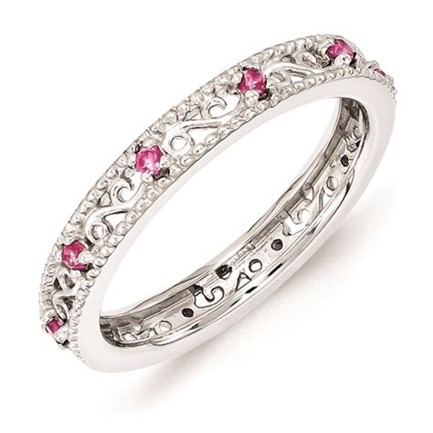 silver ring created pink sapphire