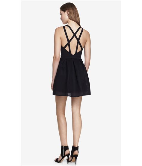 express mesh skirt fit and flare dress in black lyst