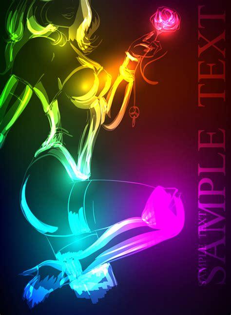 stylish neon woman vector art  vector people
