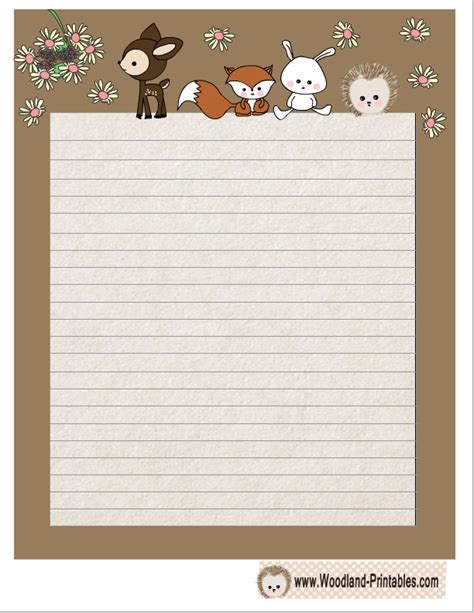 printable lined paper cute free printable cute woodland animals writing paper