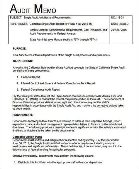 audit memo 10 memo report format postal carrier