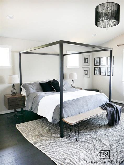 master bedroom update steel canopy bed and bedding whiteaker