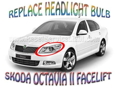 how to replace the headlight bulb on a skoda octavia ii