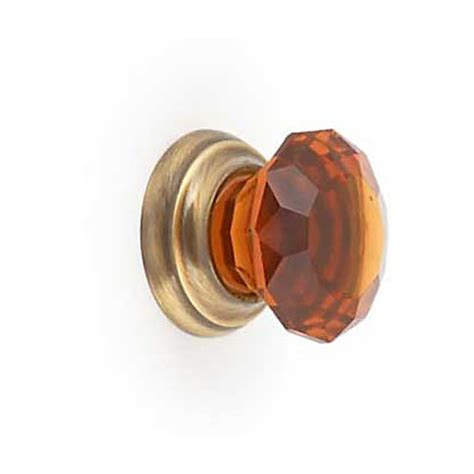 glass and antique brass cabinet door knob 32mm
