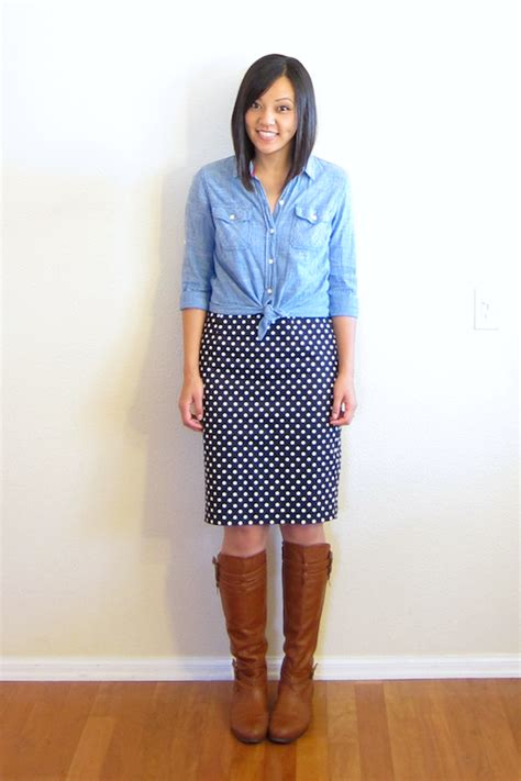 putting me together how to wear a polka dot pencil skirt