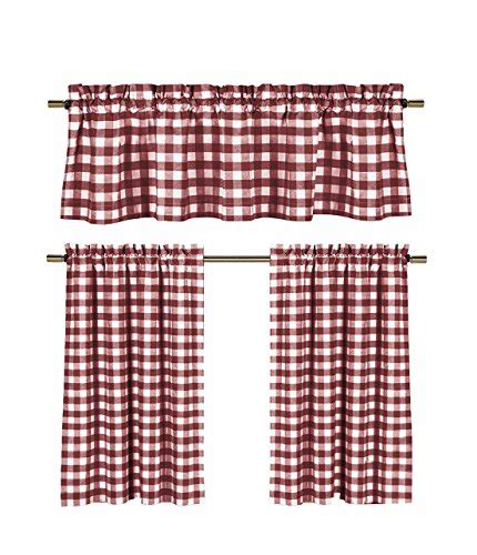 country plaid kitchen curtains goodgram 174 3 pc plaid country chic cotton blend kitchen
