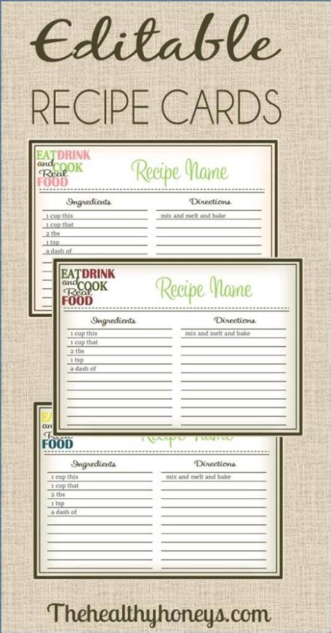 free editable recipe card templates real food recipe cards diy editable printable recipe