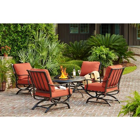 Firepit Patio Set 5 Patio Furniture Outside Backyard Garden Outdoor Pit Dining Set New Ebay