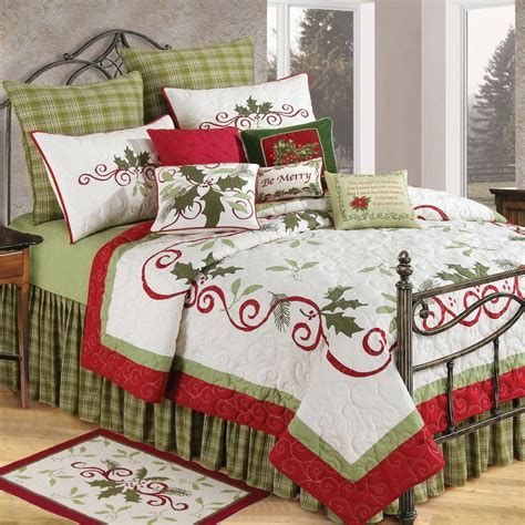 c bedding c f enterprises holiday garland holiday quilt bedding