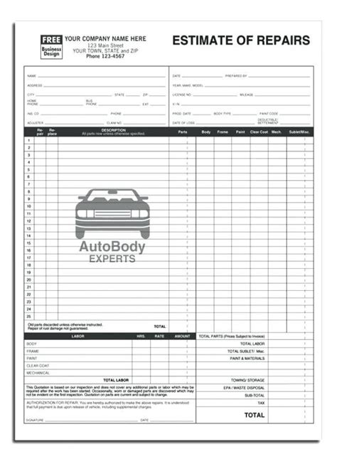 Auto Body Estimate Template Free Download Printable Templates Lab Estimate Paper Template
