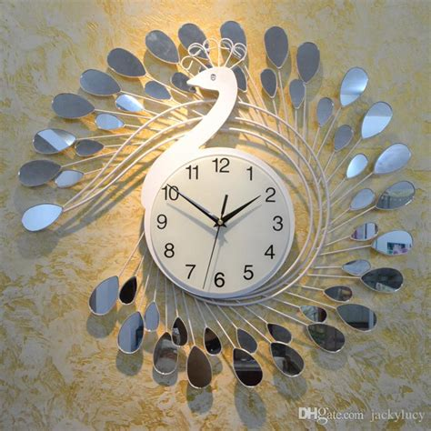 fashion peacock design silent wall clock creative craft clocks  high grade living room