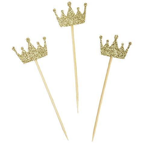 Topper Crown Glitter cake topper kit gold glitter crown 3pcs