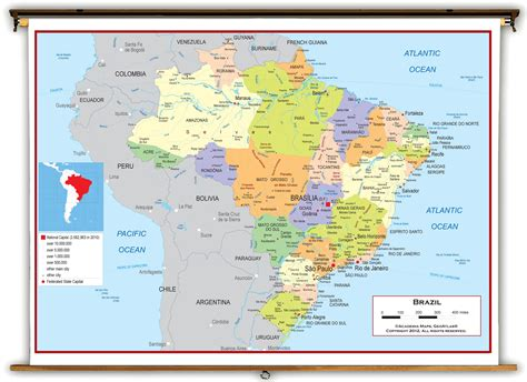 political map brazil brazil political educational wall map from academia maps