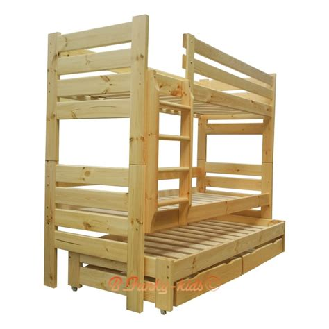Pine Wood Bunk Beds Solid Pine Wood Roll Out Bunk Bed Gustavo For 3 Persons With Mattre