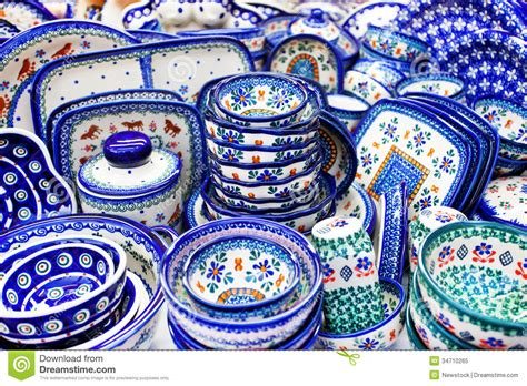 Handmade In Poland Pottery - stoneware products poland royalty free stock photo