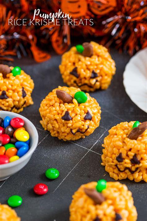 treats for students pumpkin rice krispie treats kid friendly