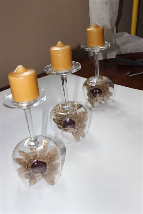 Recycled wine glasses   fall wine glass centerpieces   Momcrieff