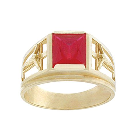 mens 14k yellow gold and ruby crucifix ring jewelry rings