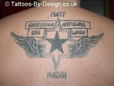 tattoo star family family angel star tattoo on back