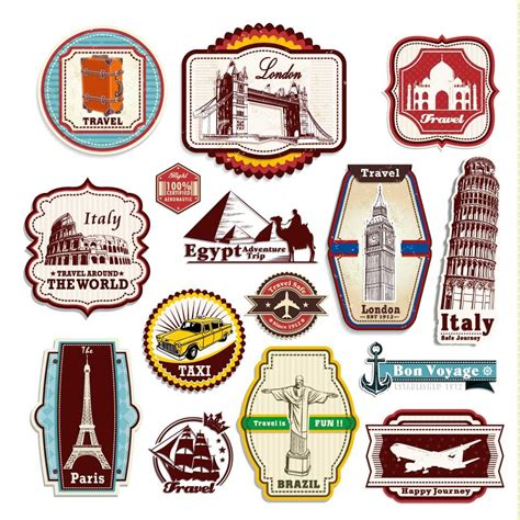 Stiker Sticker Sign Label Anodized Sign Deco Stiker retro vintage travel suitcase stickers set of 15 luggage decal labels ebay