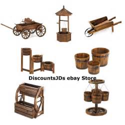 wood planter wagon wheel hanging box flower cart ebay
