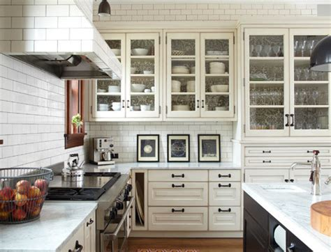 white glass kitchen cabinets subway tile range hood transitional kitchen kitchen lab