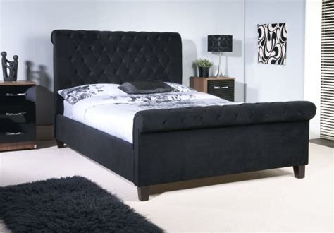 Black Sleigh Bed Frame Orbit Bed Frame Black Velvet Sleigh Bed