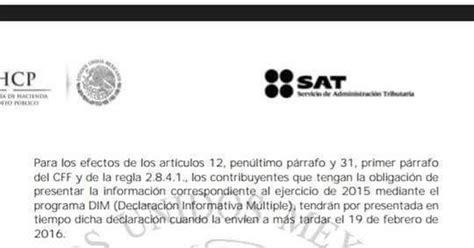 declaracion informativa multiple 2016 abc fiscal mx prorroga declaraci 243 n informativa m 250 ltiple