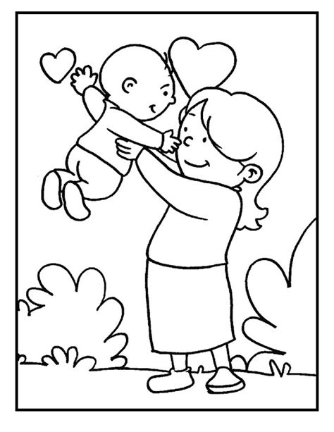 baby and mom on mother s day coloring picture for kids