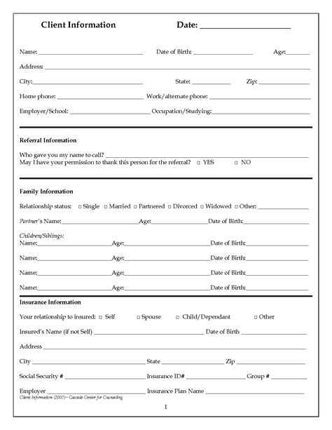 customer intake form template new client information form gallery