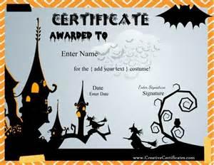Halloween Costume Certificate Template Free Halloween Costume Awards