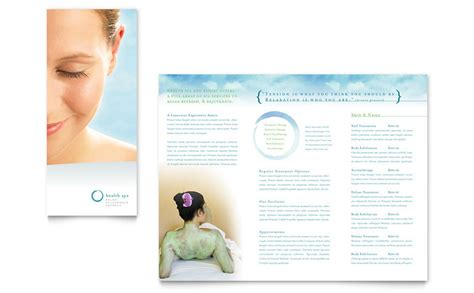 spa brochure templates day spa resort brochure template word publisher