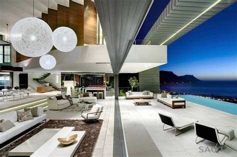 modern private residence  dramatic living room