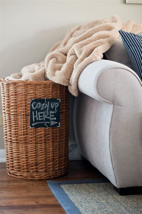 large basket for storing throw pillows 10 best tips for decorating your house for winter