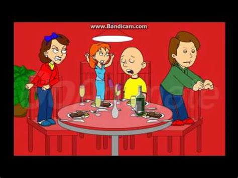 caillou dinner caillou at the dinner table and gets grounded