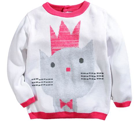 cute pattern shirts high quality girls white pink sweaters cotton soft warm