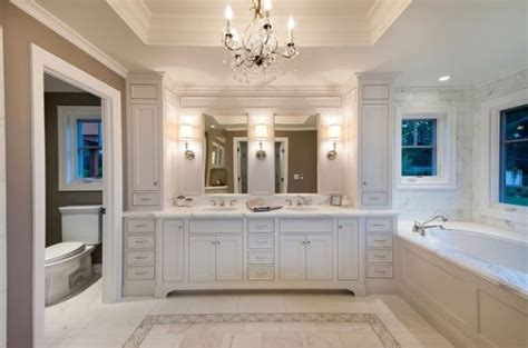 Master Bathroom Vanity Lights Marble Flooring Chandeliers And Cabinets Make This Bathroom Truly Indulgent Decoist